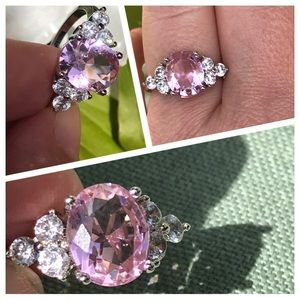 Sterling Silver Oval Pink Engagement Ring Size 6